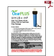 Download Owners Manual for WH1B+-HF 5 Micron Whole House Sediment Filter