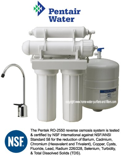 Pentek ro 2550 4 stage nsf validated reverse osmosis for Pentair water filtration